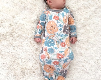 Baby Girl Coming Home Outfit, Baby Girl Clothes, Newborn Girl Coming Home Outfit, Knotted Baby Gown, Baby Girl Clothes, Newborn Gown