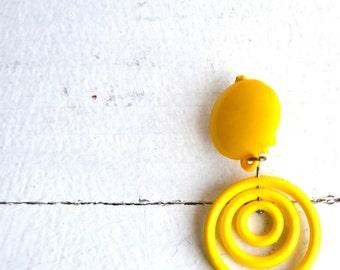 Small Clip-on hoops Clip on Hoops Hoop Earrings Dangle Clip-on Hoops Yellow Vintage 80s deadstock