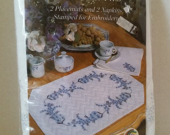 Embroidery Kit for Pretty Placemats and Napkins Set