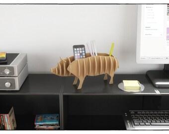 PIG PEN DESK - template Cnc cutting file - Sliced 3d Model for cardboard - animal template laser cutting - Interior design shelf desktop