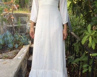Vintage Empire Waist Biege Linen Maxi Dress Medium/Small