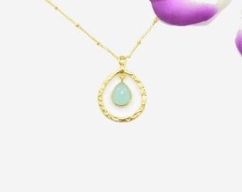 Aqua Chalcedony Necklace, Chalcedony Gold Necklace, Silver Chalcedony Necklace, Chalcedony Pendants, Chalcedony Gold Pendants, Gold Pendant