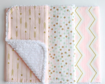Burp Cloths - Ready to Ship - Baby Girl Burp Rag Set of Three Pink Gold