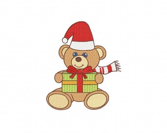 Bear With Gift Embroidery Design: In 3 x Sizes