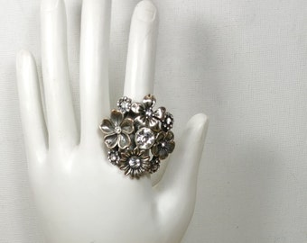 Silver Flower Ring Stretch Rhinestone Ring Vintage Jewelry Adjustable Ring Silver Tone Statement Ring