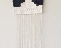 SOLD//Woven wall hanging// black// cream// Aztec// small woven wall hanging//boho