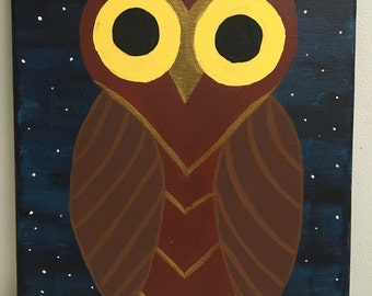 Handmade one of a kind Owl painting
