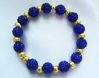 Pave Disco, Royal Blue with Gold accent beads