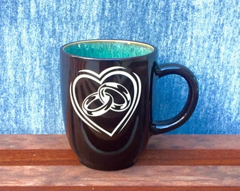 Lovely Heart and Rings Coffee Mug, Professionally Sand Carved from the Heart