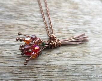 Autumn bouquet necklace, antique copper crystal flower bouquet pendant long necklace