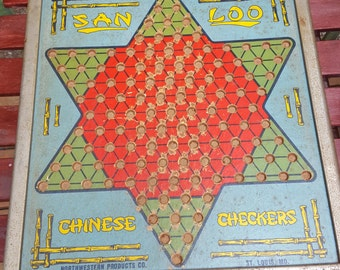 1950s San Loo Northwestern Products Co.  Chinese Checker Board