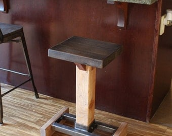 Counter Bar Stool / Handmade Industrial Rustic / Solid Wood & Steel / Industrial bar stools / farmhouse stool / Made to order