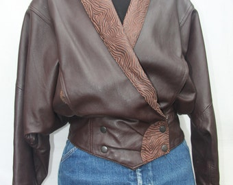 Vintage 1980's brown leather jacket dynasty style