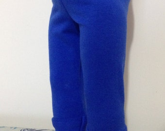 Blue leggings in cotton-lycra (spandex) for American Girl or Our Generation dolls.