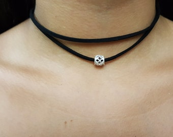 Double Leather Lace Choker With  Sterling Silver Bead (850)