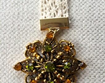 Antique Green, Orange & Gold Brooch Bookmark