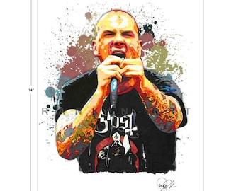 Phil Anselmo of Pantera, Down, 11x14 in, 29x36 cm, Signed Art Print w/ COA