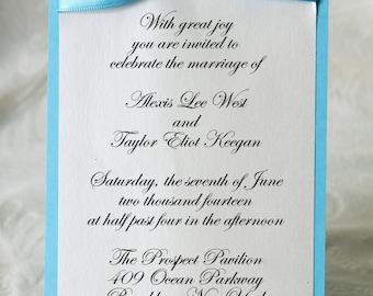 Blue Wedding invitation, Elegance invitation, Ribbon wedding invitation