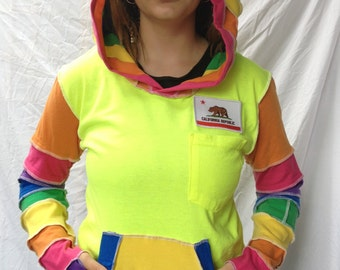 Upcycled RAINBOW T-Shirt Hoodie Katwise Inspired BurningMan-style Light Festival Fairy Recycled Jacket OOAK Top Hippie Hood for HALLOWEEN
