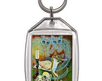 Witch Cat Keychain Ghost Skulls Spells Magic Gothic Fantasy Cat Art Keychain Keyring Cat Lovers Gifts