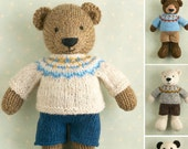 New Pattern  ...  Toy knitting pattern for a boy bear with a Fair Isle sweater and shorts