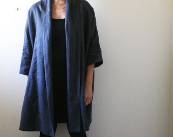 LINEN CARDIGAN / charcoal / long linen jacket / long coat / women / autumn spring / made in australia / eco / pamelatang