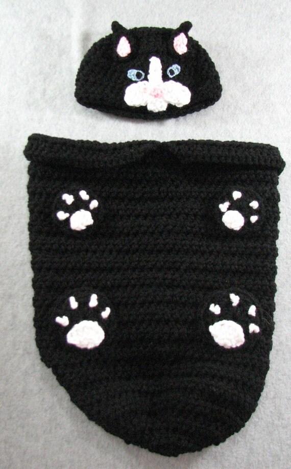 Crochet Cat Baby Cocoon Pattern : Baby Crochet Pattern Black Cat Baby Cocoon Crochet Pattern