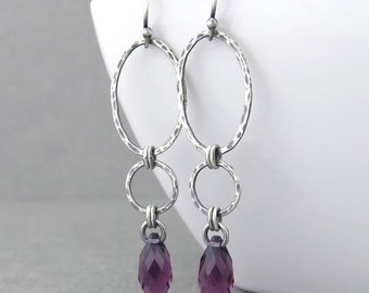 Purple Earrings Amethyst Earrings Purple Crystal Earrings Geometric Jewelry February Birthstone Jewelry Gift for Her - Adorned Aubrey