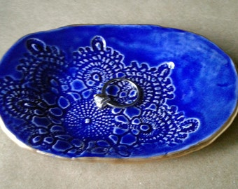 Ceramic Cobalt Blue Lace  jewelry dish soap dish edged in gold