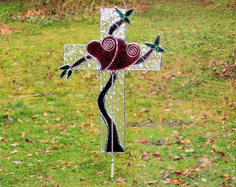 Stained Glass Cross,  Double Heart Center, Wedding or Anniversary Gift, Original Design by Coco Watkin , Suncatcher ByCoco: 14 X 8 inches