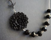Statement Necklace,Black Flower Necklace,Black Necklace,Bridesmaid Jewelry Set,Beaded Necklace,Wedding Jewelry Set,Bridesmaid Gift,Gift Her