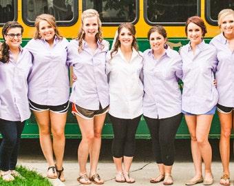 Set of 8 Bridesmaid Shirts - Button Down Shirts - Monogrammed Bridesmaid Gifts - Hair and Make Up Shirts - Bridesmaid Shirt Sets - Monogram