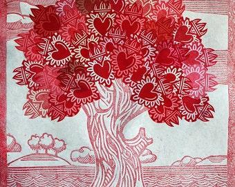 Sacred Heart Tree of Life Linocut Print Art