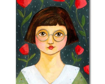 SALE - Original acrylic painting Girl in Round Glasses Folk Art Portrait painting on wood by artist Tascha