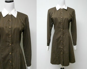 Moda Int'l . pin stripes . brown long sleeve dress . size 6 . made in USA