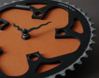 Bicycle Gear Clock - Orange Race Face | Bicycle Clock | Wall Clock | Recycled Bike Parts Clock