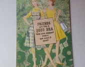 Support the Girls Vintage Card Collage Art Card Handmade Hand stamped Blank Inside