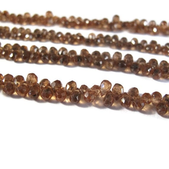 Tiny Garnet Beads, Itty Bitty Color Change Brown Garnet Briolettes, 50+ Gemstones, 4 Inch Strand of 5mm x 3mm Teardrop Beads (B-Ga1c)