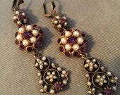 Restyled 1950s Earrings, Vintage Swarovski in Amythest Purple, Pearl - Pierced