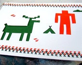 Woodland Man & Buck Paper Cut Father's Day Card, for Dad, Keepsake Art Card, Inspired by the St. Labre Indian School