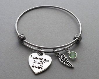 I Carry You In My Heart Bracelet, Charm Bangle, Memorial Bracelet, Memorial Jewelry, Stainless Steel Adjustable Bangle, Swarovski Birthstone