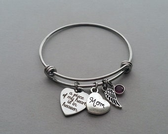 A Piece Of My Heart Is In Heaven Bracelet, Memorial Bracelet, Mom, Dad, Grandma, Grandpa, Son, Daughter, Sister, Brother, Stainless Steel