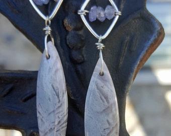 Lavender Dangle earrings - Bamboo Agate and Tanzanite Earrings