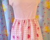 My Melody lolita dress, kawaii clothing hime gyaru pink heart fairy kei size L large