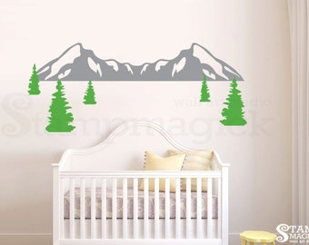Mountain Range Wall Decal - Pine Trees Wall Decal - Nursery Snow Mountains Vinyl Wall Art Mountain Scenery Hill Landscape Decor Sticker K408