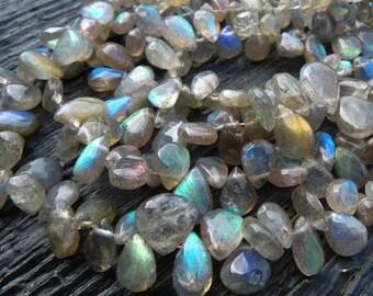 labradorite drop beads, labradorite briolettes, labradorite briolette beads, by BeadsOfBrazil