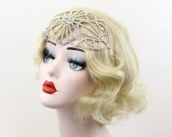 1930's Art Deco Headband, Great Gatsby Head Piece, Bridal Hair Accessory, Rhinestone Tiara, 1920's Flapper Costume, Crystal Hair Accessory