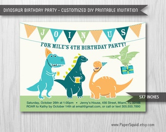 Dinosaur Birthday Party Invitation - 5x7 Inches - Digital File - Print Your Own Item #133_VSB