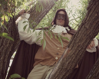 Draven Goblinguest - OOAK Labyrinth Men's Masquerade Mask in Dark Russet Brown