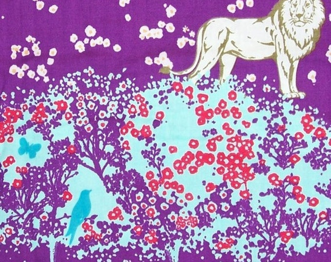 Echino Chelsea double gauze by Etsuko Furuya for Kokka - Lion (EF102A) Purple - 1 yard